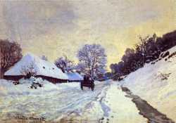 Claude Monet - The Carriage - The Road To Honfleur Under Snow