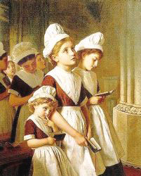 Young Girls At Prayer In The Chapel