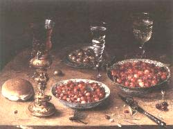 Still'Life With Cherries And Strawberries In China Bowls