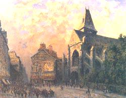 Scene Of A Street In Front Of The Church Of Saint-Medard Paris