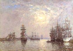 Le Havre European Basin Sailing Ships At Anchor Sunset