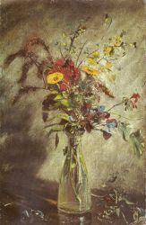 Flowers In A Glass Vase - Study