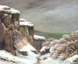 Cliffs By The Sea In The Snow