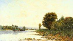 Washerwomen In A River Landscape With Steamboats Beyond
