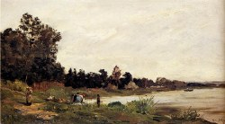 Washerwomen In A River Landscape