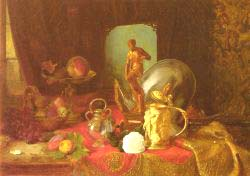 Still Life With Fruit, Objets D'Art And A White Rose On A Table
