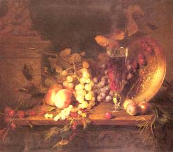 Still Life With Fruit, A Glass Of Wine And A Bronze Vessel On A Ledge