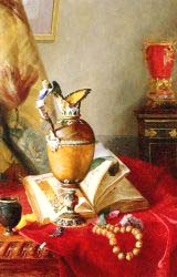 Still Life With Urns And Illuminated Manuscript On A Draped