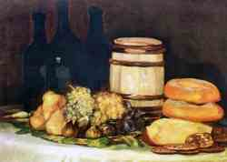 A Still Life With Fruit, Bottles And Bread