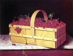 A Wooden Basket Of Catawba-Grapes