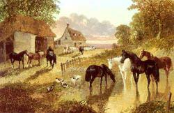 The Evening Hour - Horses And Cattle By A Stream At Sunset