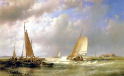 Dutch Barges At The Mouth Of An Estuary