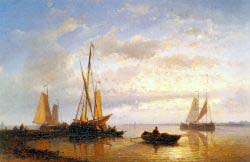 Dutch Fishing Vessels In A Calm At Sunset