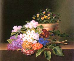Apple Blossoms, Lilac, Violas, Cornflowers And Primroses