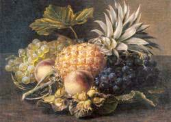 Grapes, A Pineapple, Peaches And Hazelnuts In A Basket
