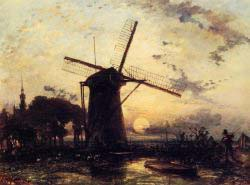 Boatman By A Windmill At Sundown