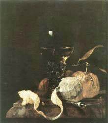 Still'Life With Lemon, Oranges And Glass Of Wine