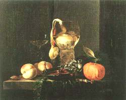 Still'Life With Silver Bowl Glasses And Fruit