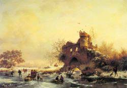 Winter Landscape With Skaters On A Frozen River Beside Castle