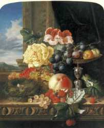Still Life With Fruit - Flowers And A Bird's Nest