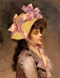 Portrait Of A Lady In Pink Ribbons