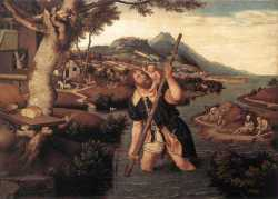 Hilly River Landscape With St Christopher