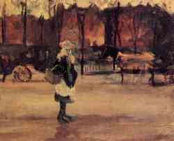 A Girl In The Street - Two Coaches In The Background