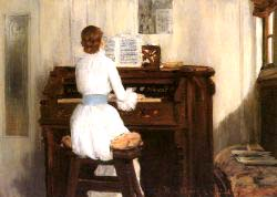 Mrs Meigs At The Piano Organ - William Merritt Chase