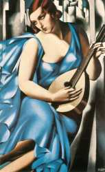 Lady In Blue With Guitar - Tamara De Lempicka