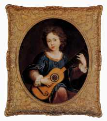 A Young Girl Playing A Guitar - Pierre Mignard