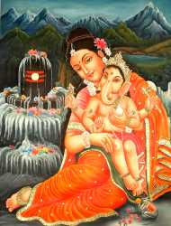 Baby Ganesha Seated In The Lap Of Mother Parvati