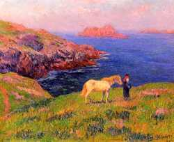 Cliff At Quesant With Horse