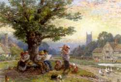 Figures And Children Beneath A Tree In A Village