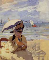 Camille Sitting On The Beach At Trouville - 1870