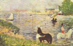 Bathing At Asnieres - Horses In The Water