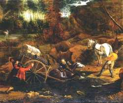 Figures With A Cart And Horses Fording A Stream