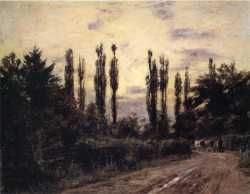Evening Poplars And Roadway Near Schleissheim