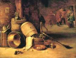 An Interior Scene With Pots Barrels Baskets Onions And Cabbages