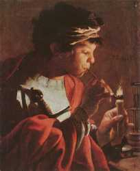 Boy Lighting A Pipe