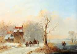 A Winter Landscape With Skaters On A Frozen Waterway And A Horse Drawn Cart