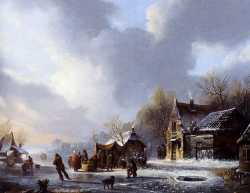 Skaters On A Frozen River Near A Koek En Zopie