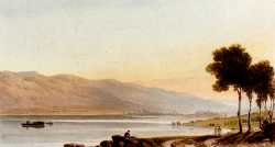 Figures And Sheep On The Shore Of Lake Geneva