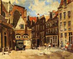 A Townscene With Children At Play Haarlem