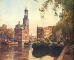 The Flowermarket On The Singel Amsterdam With The Munttoren Beyond