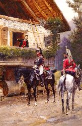 Mounted First-Empire Dragoons In Front Of A Country House