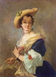 Portrait Of A Woman With A Straw Hat