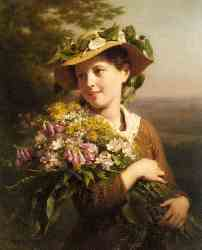 A Young Beauty Holding A Bouquet Of Flowers