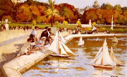 Children Sailing Their Boats In The Luxembourg Gardens - Paris