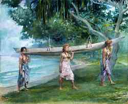Girls Carrying A Canoe Vaiala In Samoa